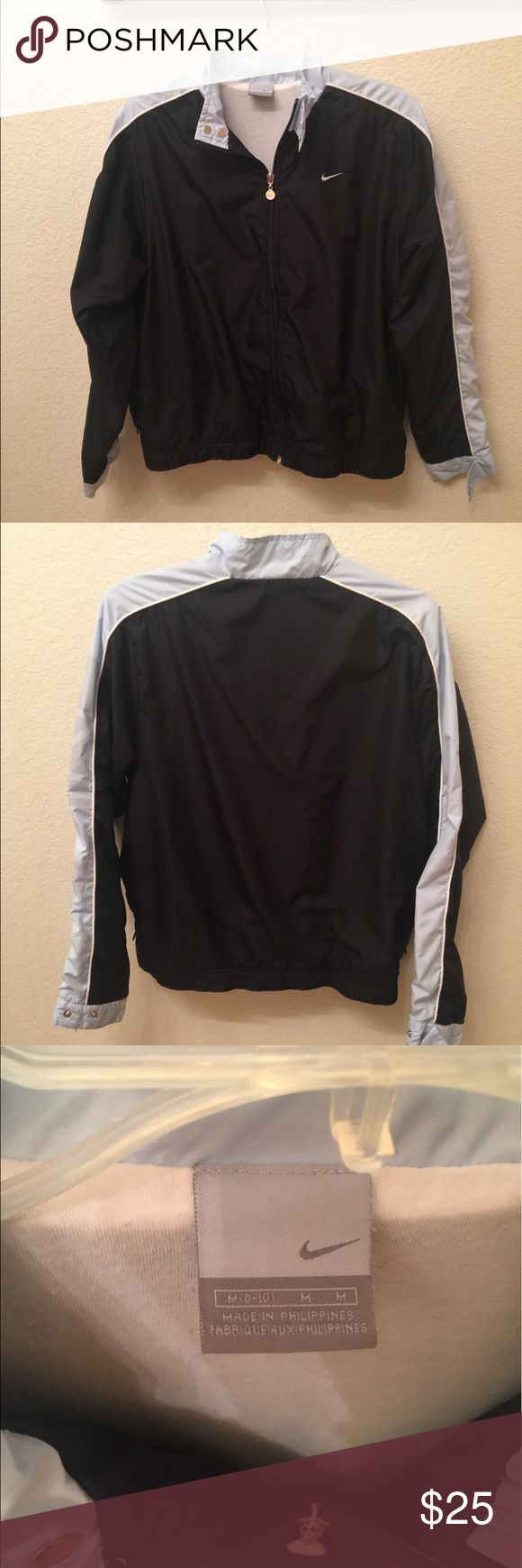 Nike Windbreaker Track Jacket Almost brand new light blue and black windbreaker. Very comfortable. Nike Jackets & Coats