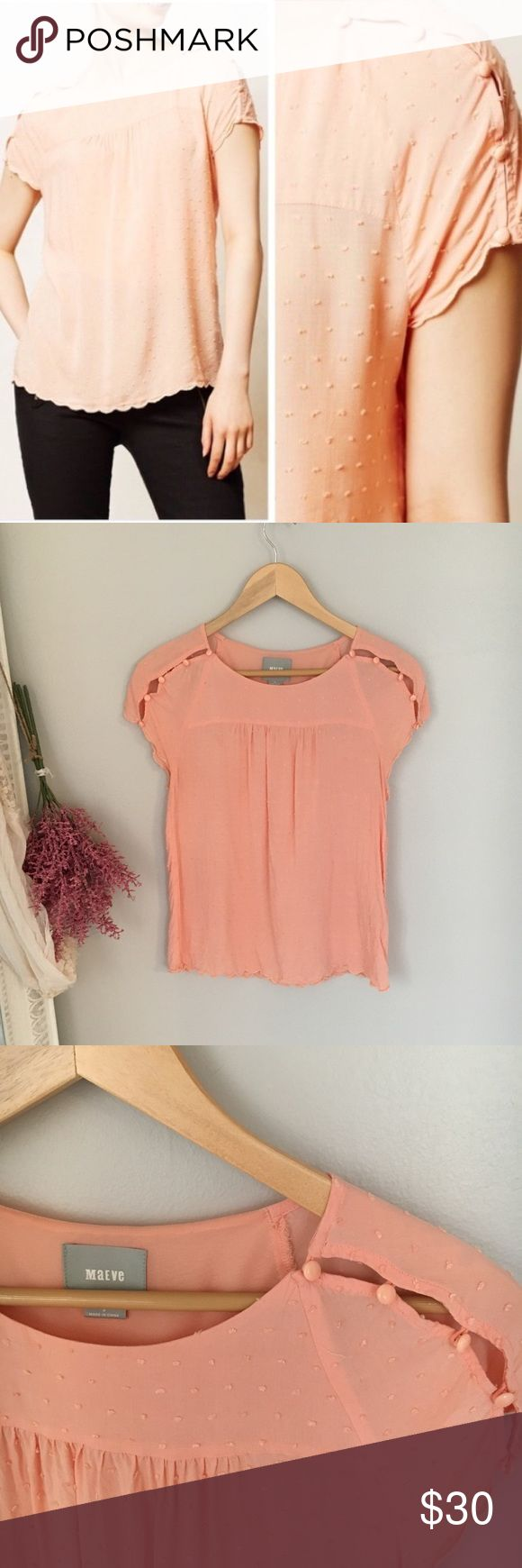 Maeve Anthropologie Peach short sleeve top Adorable mini polka dot top with open button shoulder. Size 2. Anthropologie Tops Blouses