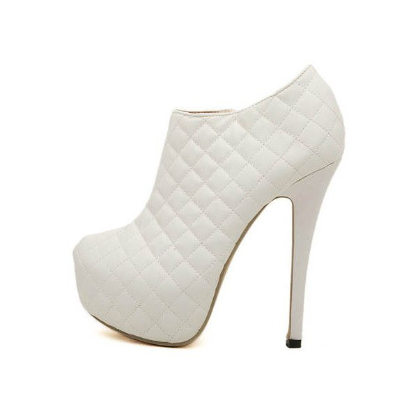 White Faux Leather Quilted Platform Stiletto Booties ($29) ❤ liked on Polyvore featuring shoes, boots, ankle booties, heels, white, platform stilettos, platform boots, vegan boots, white boots and faux leather platform booties