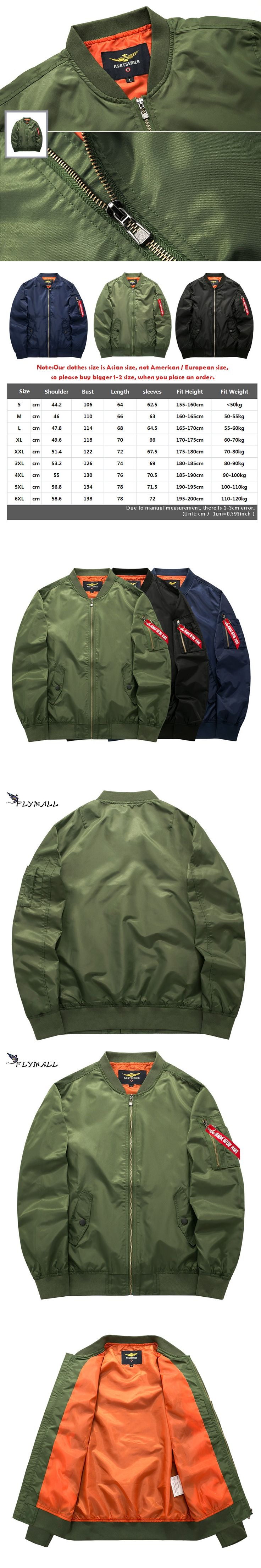 Bomber Jacket 2017 Men's Fashion Thin Warm Autumn Winter Military Motorcycle Jackets Men Flight Ma-1 Pilot Air Force Brand Coat