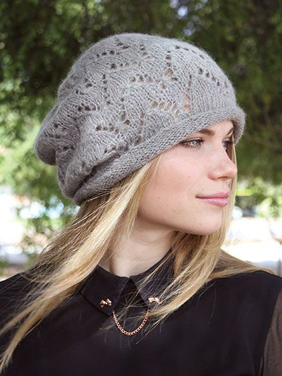 dd3c5523aa8 Knitting Pattern for Lace Slouchy Hat -  ad love this lace beanie with  rolled brim