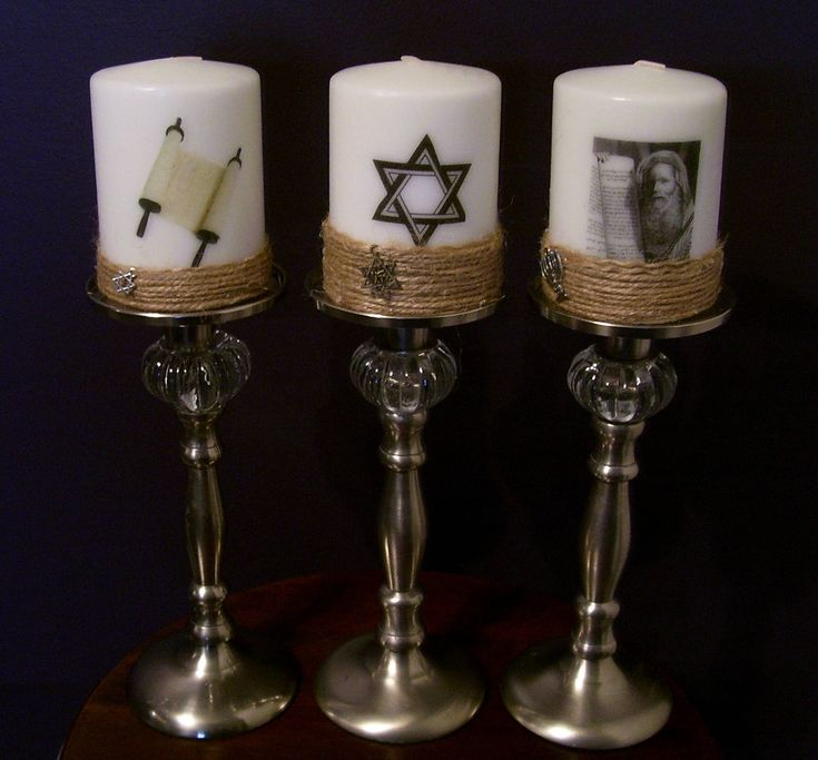 Set of three Jewish Candle Candles Candlestick Holders Shabbat Moses Torah Star of David Magen Judaism Synagogue