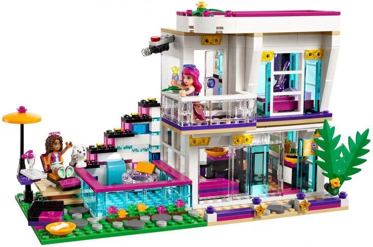 LEGO Livi's Popsterrenhuis 41135  Andrea is uitgenodigd om Livi te bezoeken in haar spectaculaire popsterrenhuis! Ga je mee? Het huis heeft een slaapkamer met aangrenzende zwarte en goudkleurige badkamer en een kleerkast waar je een rok van echte stof kunt uitkiezen.  https://www.olgo.nl