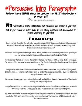 persuasive opinion introductory paragraph steps examples and