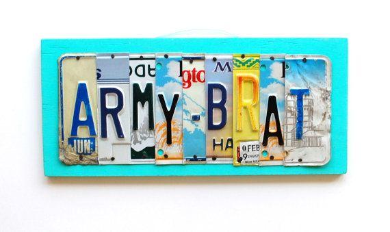 ARMY BRAT OOAK license plate art Navy Brat usaf brat by UniquePl8z, $60.00