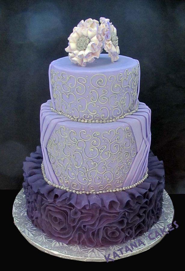 Purple Fondant Ruffles And Silver Piping Wedding Cake Sugar Fantasy Pearl Flowers Totally