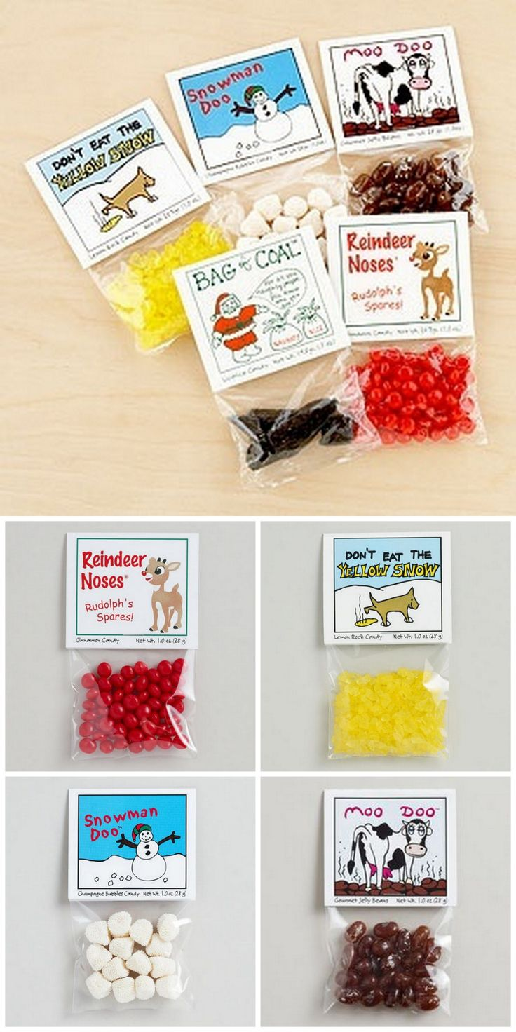 "Buy or DIY: funny candy stocking stuffers from World Market here. Or you can make your own - just google ""Reindeer Poop"", ""Snowman Poop"" etc… for lots of printables. • Reindeer Noses • Don't Eat the Yellow Snow • Snowman Doo • Moo Doo • Bag of Coal"