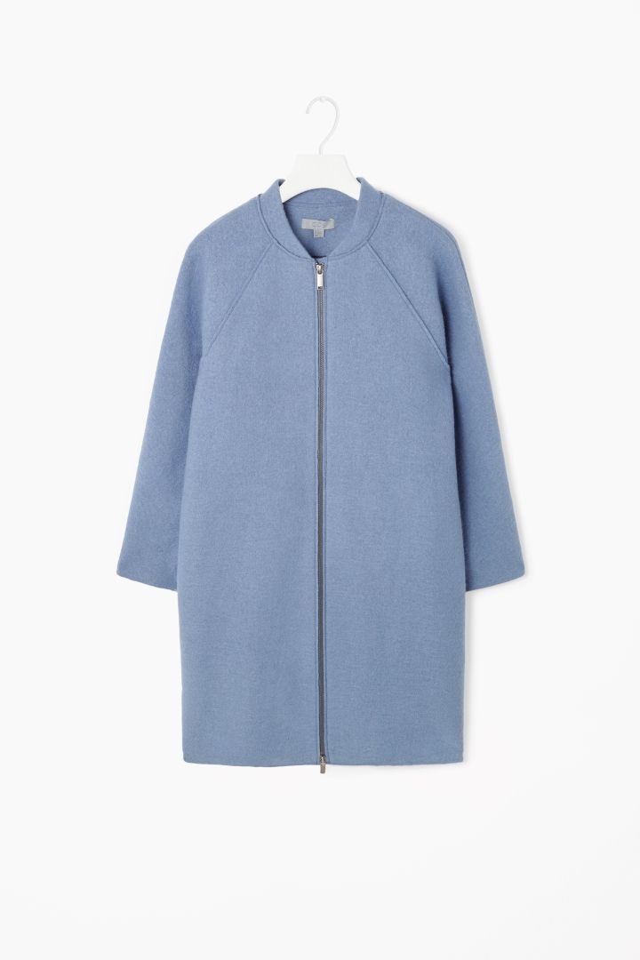 This structured, zippered boiled-wool coat ($250) is well priced as well as super-pretty.