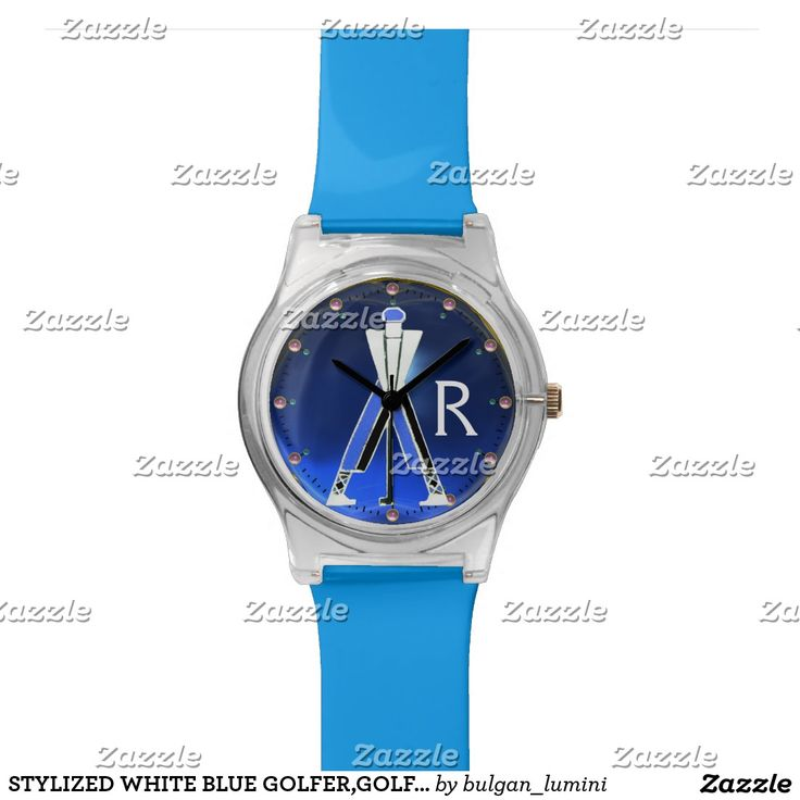 STYLIZED WHITE BLUE GOLFER,GOLF PLAYER MONOGRAM WRIST WATCHES  #golf #golfplayer #golfer #sport #fashion #sports #golfers