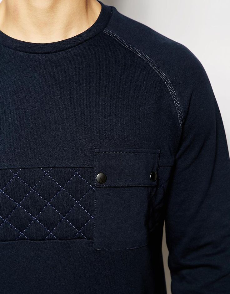 Image 3 ofASOS Sweatshirt With Quilted Panel And Pocket