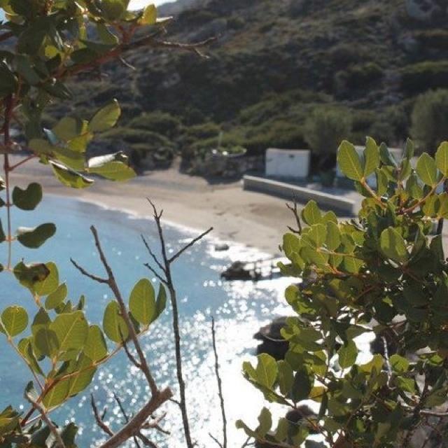 Looking down onto ladiko beach in winter.