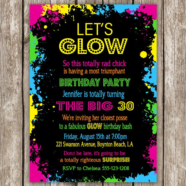 Neon Party Invitation Wording