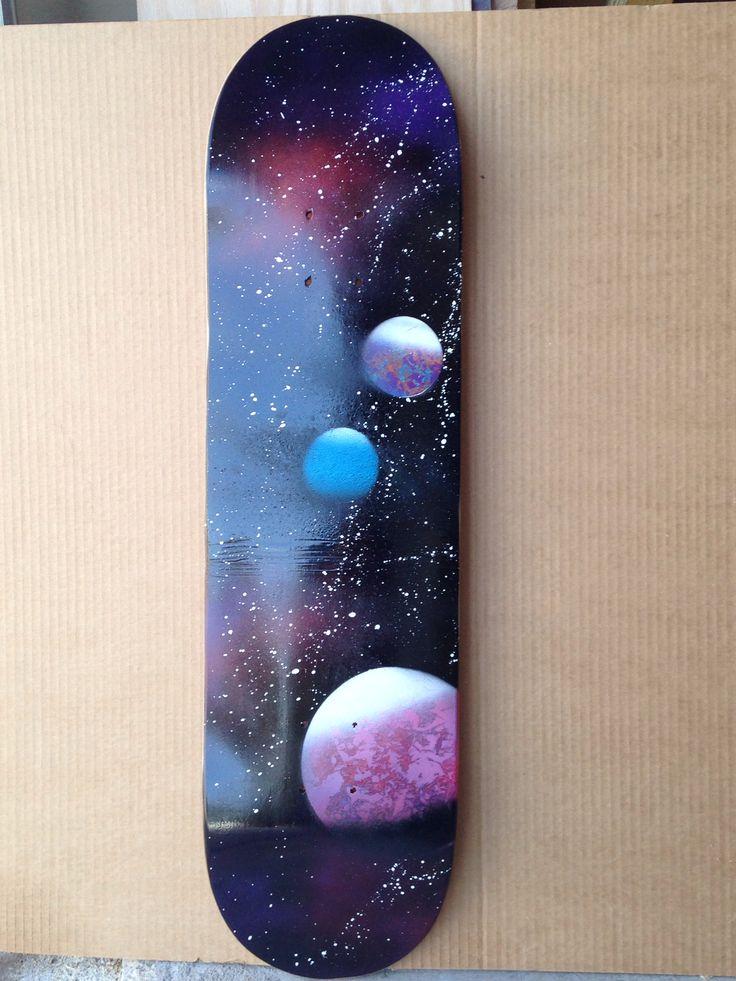 Homemade. skateboard. Spray paint. Art. Galaxy art. To buy go to IG@galexyco