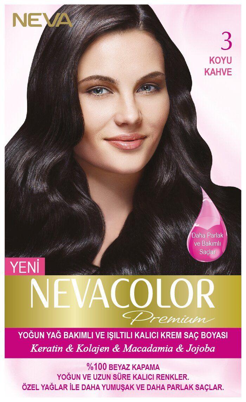 Neva Color Premium Sac Boyasi 3 Koyu Kahve Kolajen Sac Sac