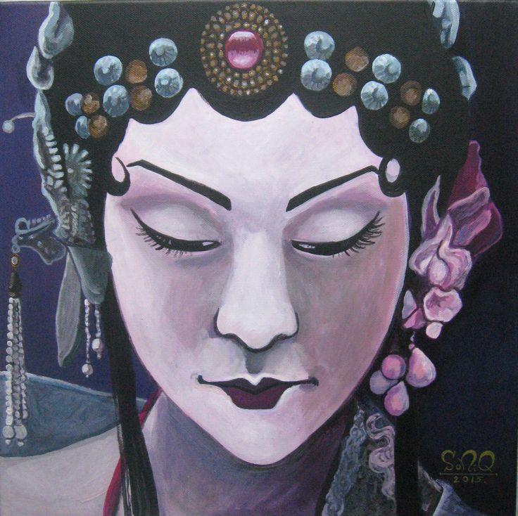 Women of the Earth: Asian Woman VI. - 40x40cm, akryl na płótnie.