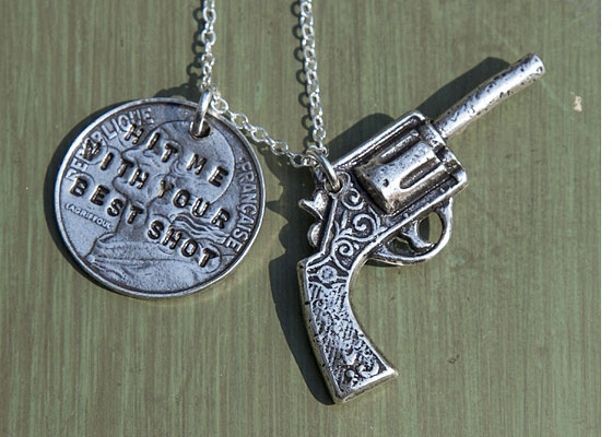 Hit me with your best shot! | Love, love, love this song! :)Bourbon Boots Repin, Awesome Charms, Charms Necklaces, Hit, Pistols Necklaces, Fun Guns, Boots Charms, Bourbonandboots Com, Pistols Charms