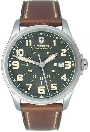 Swiss Army Infantry Vintage Military Green Dial Leather strap Mens Watch 241309 BY Swiss Army