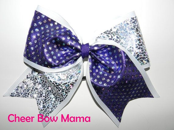 Purple, White  Silver Cheer Bow by Cheer Bow Mama