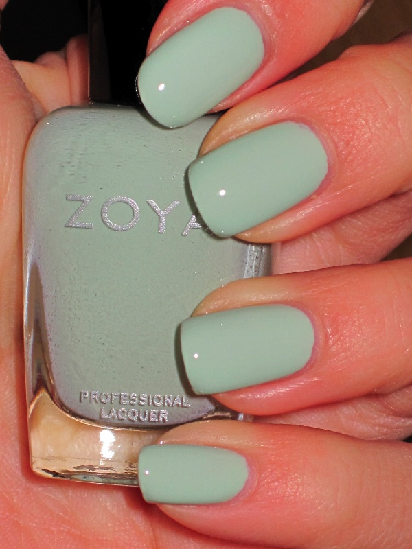 Zoya nail polish, color: Neely (pastel mint green creme)