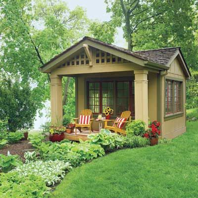This is a tricked-out plain Jane shed.  It's all great, and I love the colors!