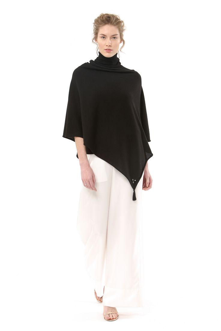The Essential Knit Collection || Knitted poncho-Black Ink