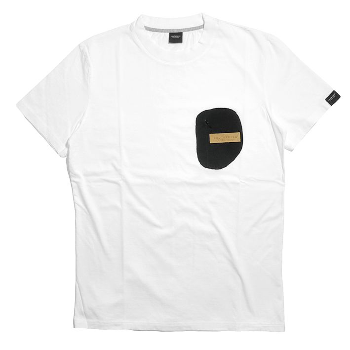Black Velvet Zip Pocket Tee - White