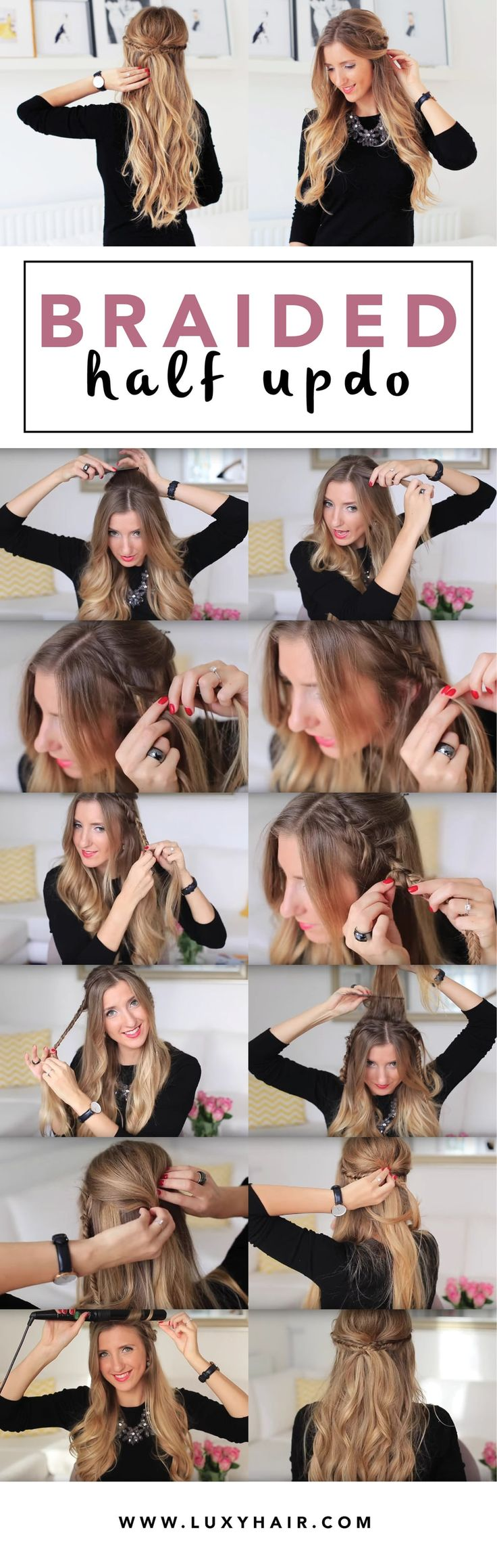 We can't get enough of pretty holiday hairstyles! In this week's tutorial, Luxy Team member - Zane, will show you how to create this super cute & easy Holiday Half Updo with her Dirty Blonde Luxy Hair Extensions. A little bit bohemian, effortless and feminine - this hairstyle is perfect for your holiday parties or any special event. Compliments are guaranteed! :) Fishtail braid is one of Zane's all time favourite hairstyles so, of course, she had to incorporate fishtails in this look...