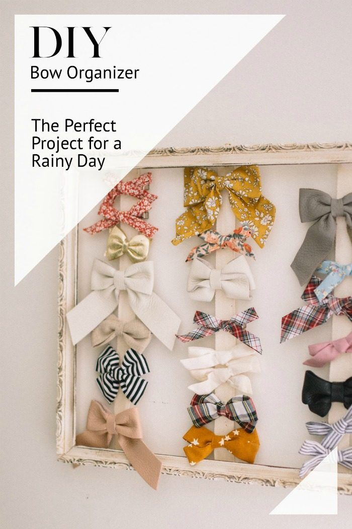 DIY Bow Organizer // DIY projects for kids // Kid friendly DIY projects // How to Organize Hair Accessories // Bow Organizer Craft // Lynzy & Co.