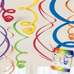 Primary Color Hanging Swirls from Windy City Novelties;  or cut from paper and hang in bedroom or birthday party!