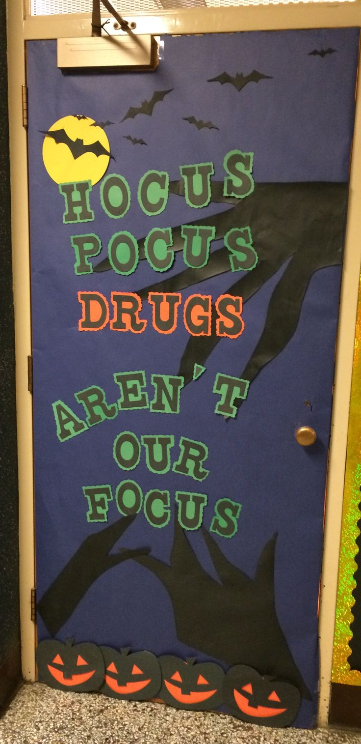 Hocus Pocus Drugs Are Not Our Focus Red Ribbon Week Door