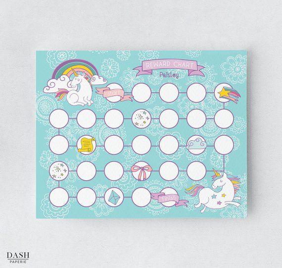 unicorn reward chart  printable chore chart  personalized