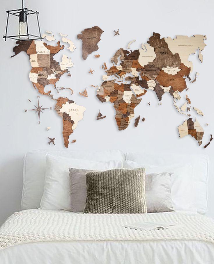 3D Wood Art World Map Multilayered World's first 3D Wooden World Map
