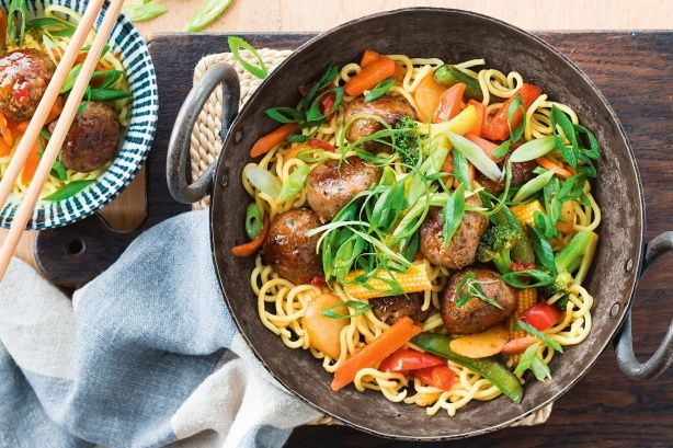 15-minute honey-soy meatball stir-fry - Cheat it! We've created maximum flavour in minimum time by using pre-made meatballs and a delicious stir-fry sauce.
