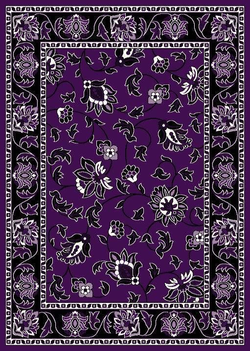 1005 Purple Black White Floral 8x10 Modern Area Rug Carpet