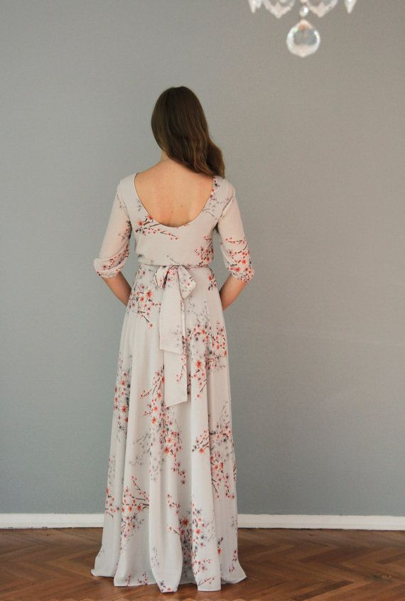 Floral print maxi chiffon dress with scoop back by NelliUzun