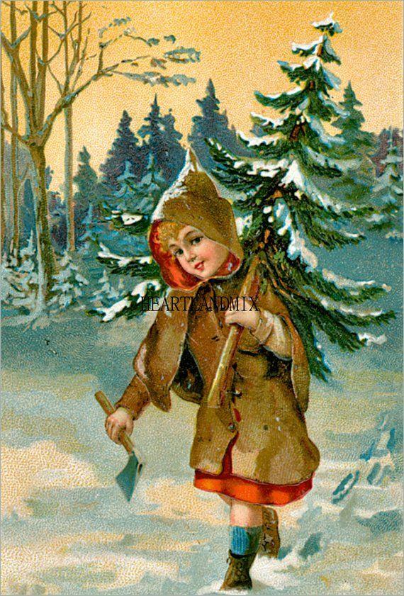 Зарубежные старые новогодние открытки