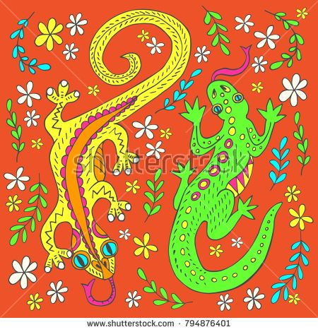 Vector image of two decorative lizards in the grass and flowers painted by hand. Illustration can be use to design everyday objects, in web design and to implement other creative ideas