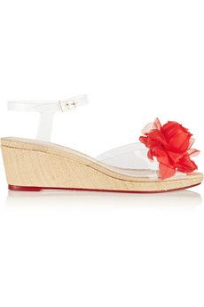 Charlotte Olympia Alexa embellished PVC wedge sandals   NET-A-PORTER
