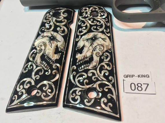 1911 grips full size genuine Mother of Pearl inlaid on wood