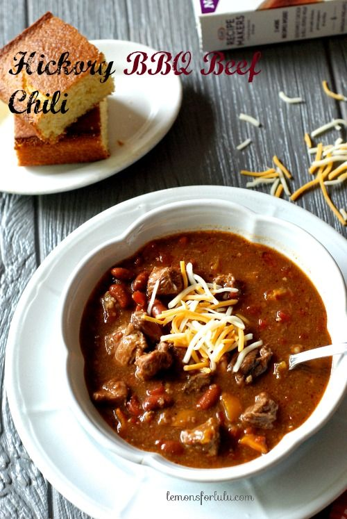 Hickory BBQ Beef chili is easy to prepare!  You only need your slow cooker and few ingredients to make this flavorful chili! #kraftrecipemakers #shop #cbias www.lemonsforlulu.com