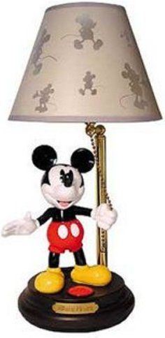 TeleMania 020-075 MICKEY-LAMP Talking Mickey Mouse Lamp, Animated talking lamp with authentic character voice, Authentic character voice, One-touch activation, Mickey stands on the base, under the lamp shade, holding the lamp chain (020  075    020075  MICKEYLAMP   MICKEY LAMP)