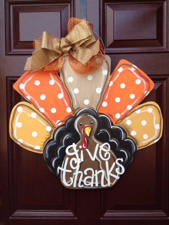 Turkey door hanger/Fall door hanger/The Gilded Polka Dot/Thanksgiving door hanger