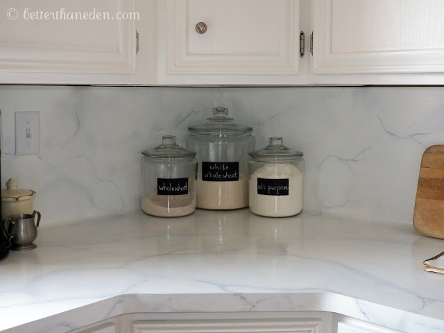 Faux marble painted countertops diy projects pinterest for What kind of paint to use on kitchen cabinets for papier origamie