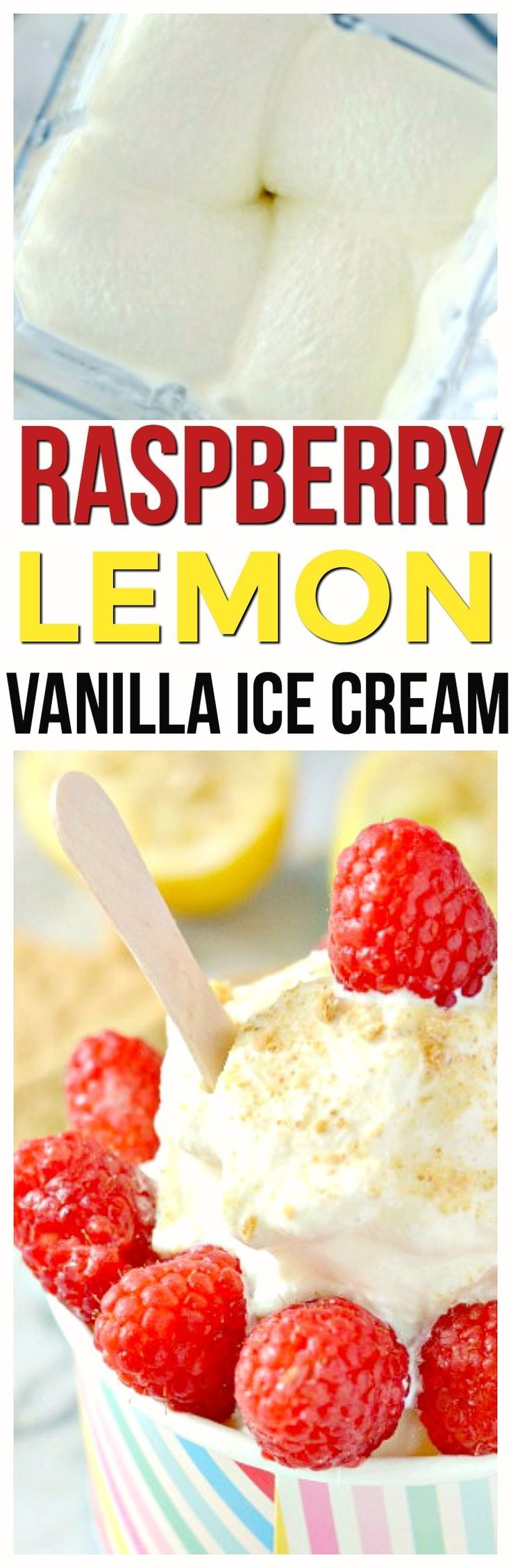 Raspberry Lemon Ice Cream Recipe blender ice cream healthy treat that is a no cook ice cream recipe. Perfect dessert for the whole family. No Cook No Eggs via @KnowYourProduce