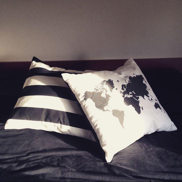 Striped Cushion and World Map Cushion