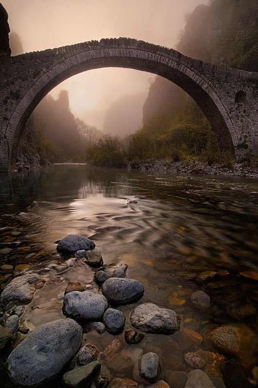 Konitsa bridge, Vikos-Aoos National Park, region of Epirus in northwestern Greece. UNESCO Geopark ✯ ωнιмѕу ѕαη∂у