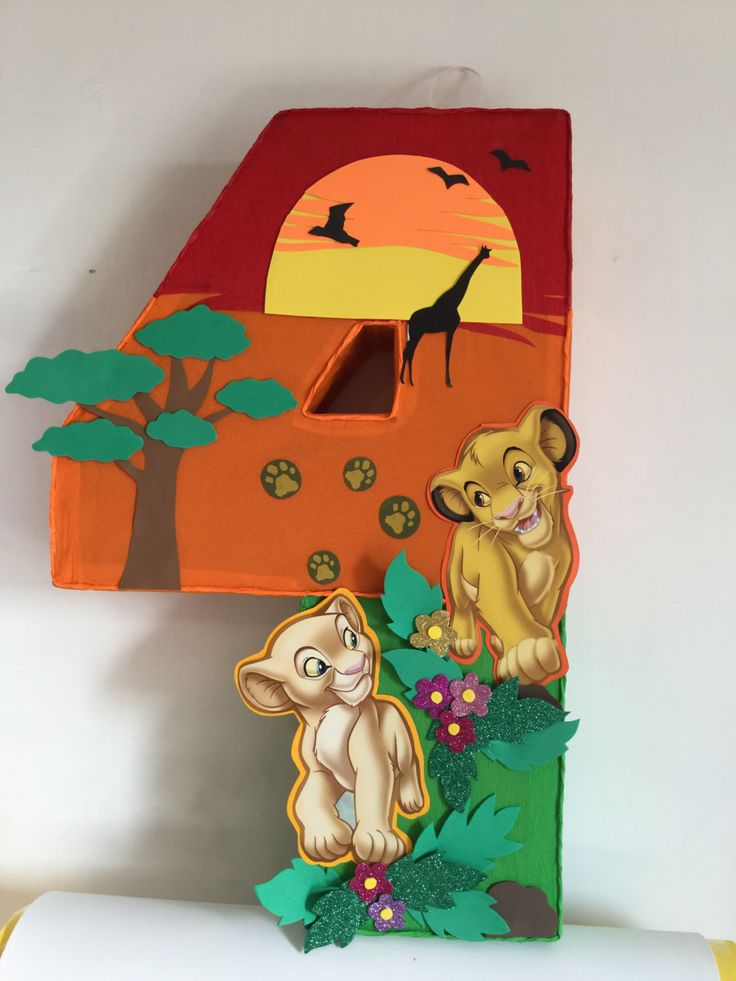 number 4 the Lion king pinata, Simba and Nala pinata, Simba and Nala birthday party. The Lion King  birthday party, Lion king party supplies by aldimyshop on Etsy https://www.etsy.com/listing/268851536/number-4-the-lion-king-pinata-simba-and