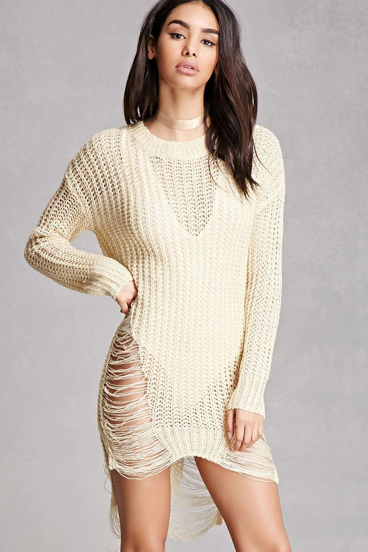 An open-knit sweater dress featuring a longline silhouette, distressed design, a round neckline, and long sleeves. This is an independent brand and not a Forever 21 branded item.