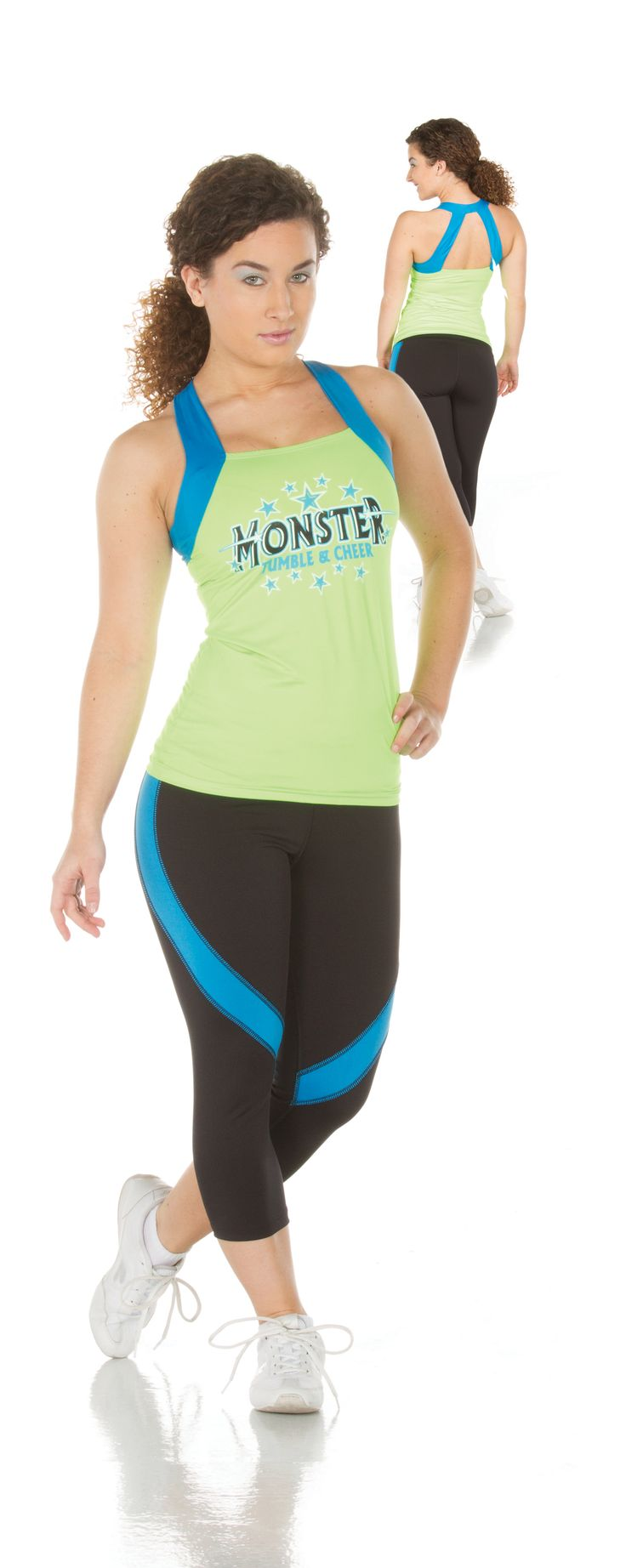 WOMEN'S JAZZY OPEN-BACK TANK/ACTION CAPRI SET: Tank and capri set that contain moisture-wicking, odor-resistant material with added contrast for flair.  #cheerleading #cheer #team #athlete #fitness #sports #uniforms #spiritwear