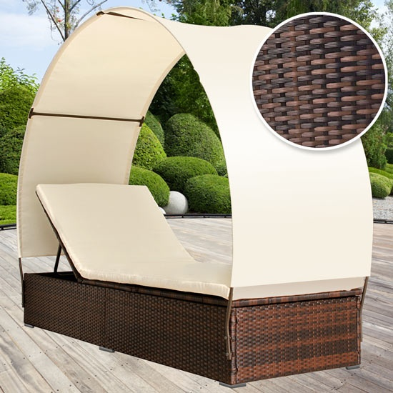 Rattan Sonnenliege Mit Dach Für Terrasse Oder Garten. Bald Im Sortiment |  Sun Lounger With